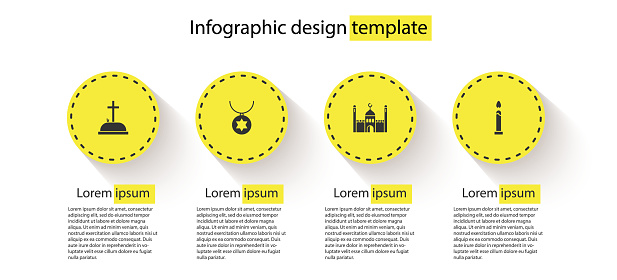 Set Tombstone with cross, Star of David necklace chain, Muslim Mosque and Burning candle. Business infographic template. Vector