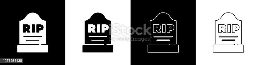 istock Set Tombstone with RIP written on it icon isolated on black and white background. Grave icon. Vector 1271984436