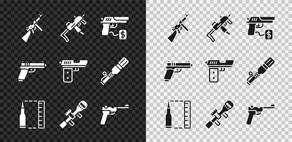 Set Tommy gun, MP9I submachine, Buying pistol, Bullet, Sniper optical sight, Mauser, Pistol or and icon. Vector