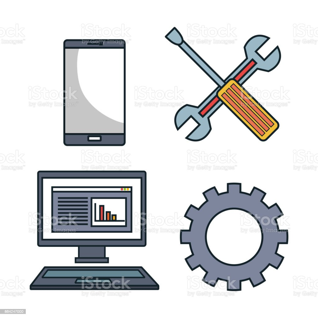 set tools data center graphic isolated royalty-free set tools data center graphic isolated stock vector art & more images of built structure