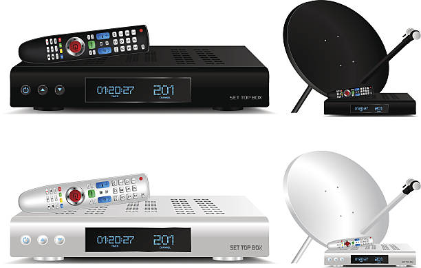 Set top box and dish antenna vector illustration Set top box and dish antenna vector illustration cable tv stock illustrations