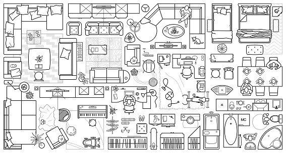 Set top view for interior icon design. Floor plan. Architecture plan with furniture in top view. The layout of the apartment, technical drawing  kitchen, living room and bedroom. Vector Illustration.