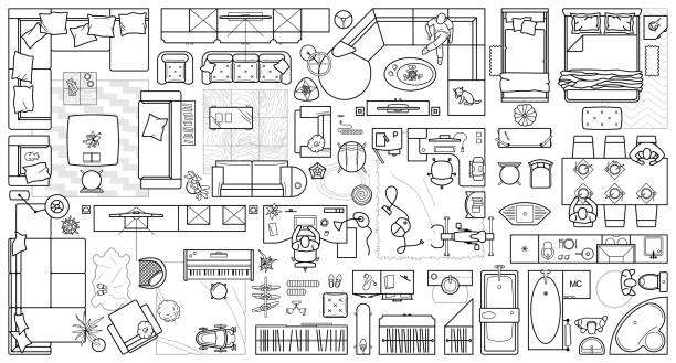 Set top view for interior icon design. Floor plan. Architecture plan with furniture in top view. The layout of the apartment, technical drawing  kitchen, living room and bedroom. Vector Illustration. Floor plan icons set for design interior and architectural project (view from above). Furniture thin line icon in top view for layout. Blueprint apartment. Vector architecture icons stock illustrations
