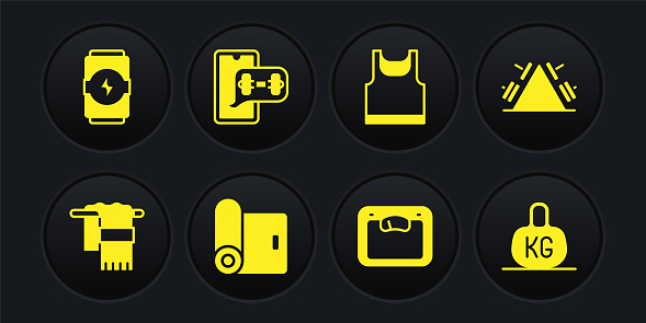 Set Towel on hanger, Metal rack with weight, Fitness mat roll, Bathroom scales, Sleeveless t-shirt, app, Weight and Energy drink icon. Vector