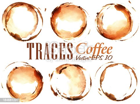 istock Set Traces Cup drawn pour coffee 184681207