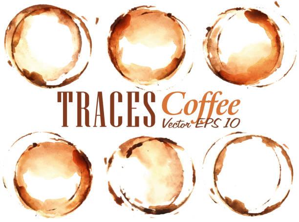 stockillustraties, clipart, cartoons en iconen met set traces cup drawn pour coffee - houtbeits