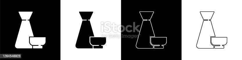 Set Traditional Chinese tea ceremony icon isolated on black and white background. Teapot with cup. Vector Illustration