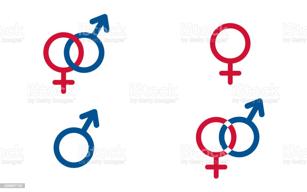 Set Traditional Female And Male Symbols Venus And Mars Vector