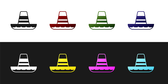 Set Traditional mexican sombrero hat icon isolated on black and white background. Vector
