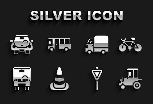 Set Traffic cone, Bicycle, Tractor, Road traffic signpost, Bus, Delivery cargo truck, Car and icon. Vector