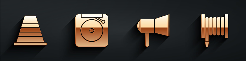 Set Traffic cone, Ringing alarm bell, Megaphone and Fire hose reel icon with long shadow. Vector