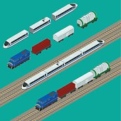 vector illustration. Set train icons. Passenger fast train, the locomotive, boxcar, container, tank. isometric, infographic.