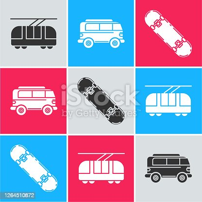 Set Tram and railway, Retro minivan and Skateboard icon. Vector