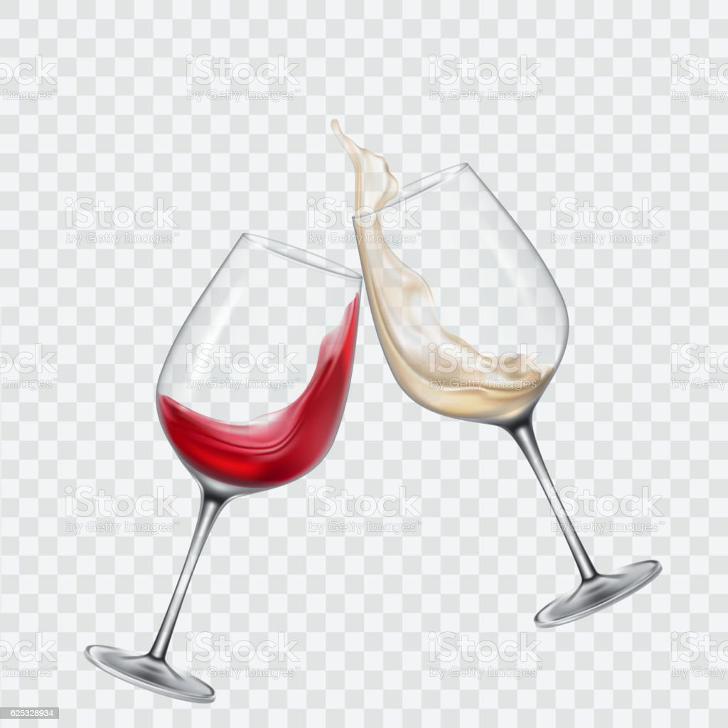Set transparent glasses with white and red wine vector art illustration