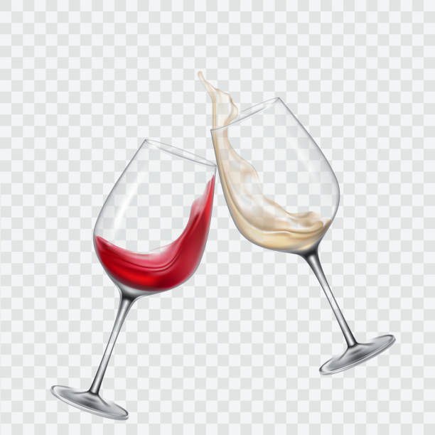 set transparent glasses with white and red wine - ワイングラス点のイラスト素材/クリップアート素材/マンガ素材/アイコン素材