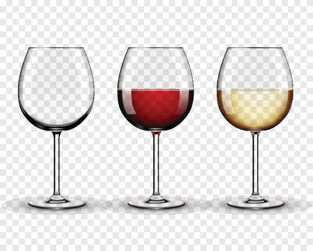 set transparent vector wine glasses empty, with white and red wine on transparent background - alcohol drink silhouettes stock illustrations