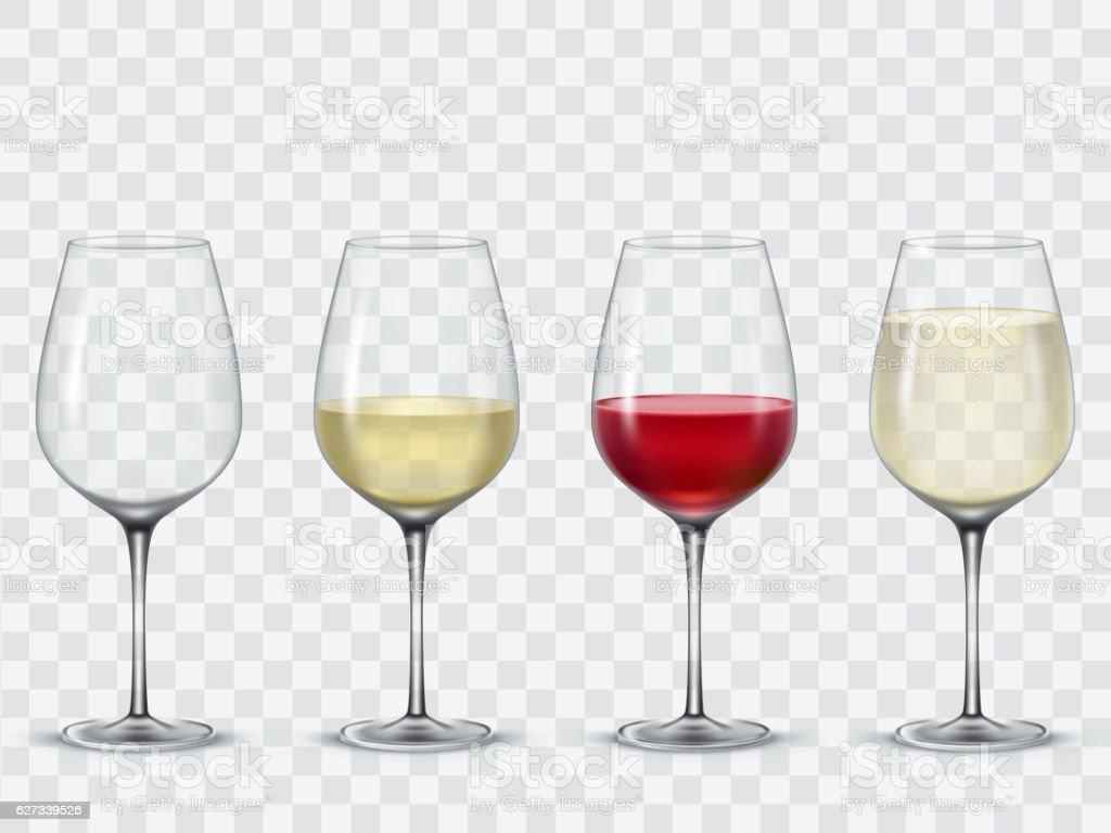 Set transparent vector wine glasses vector art illustration
