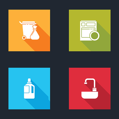 Set Trash can and garbage bag, Kitchen dishwasher machine, Fabric softener and Washbasin with water tap icon. Vector