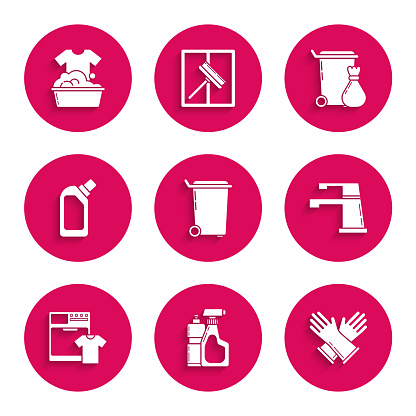 Set Trash can, Plastic bottles for liquid dishwashing liquid, Rubber gloves, Water tap, Washer and t-shirt, and basin with soap suds icon. Vector