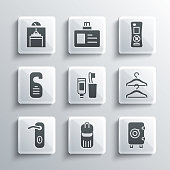 istock Set Trash can, Safe, Hanger wardrobe, Toothbrush and toothpaste, Door handle, Please do not disturb, Lift and Remote control icon. Vector 1336679921