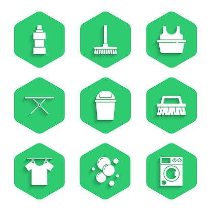 Set Trash can, Soap water bubbles, Washer, Brush for cleaning, Drying clothes, Ironing board, Basin with shirt and Bottle agent icon. Vector