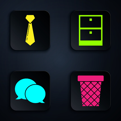 Set Trash can, Tie, Speech bubble chat and Archive papers drawer. Black square button. Vector