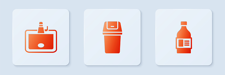 Set Trash can, Washbasin and Bottle for cleaning agent. White square button. Vector
