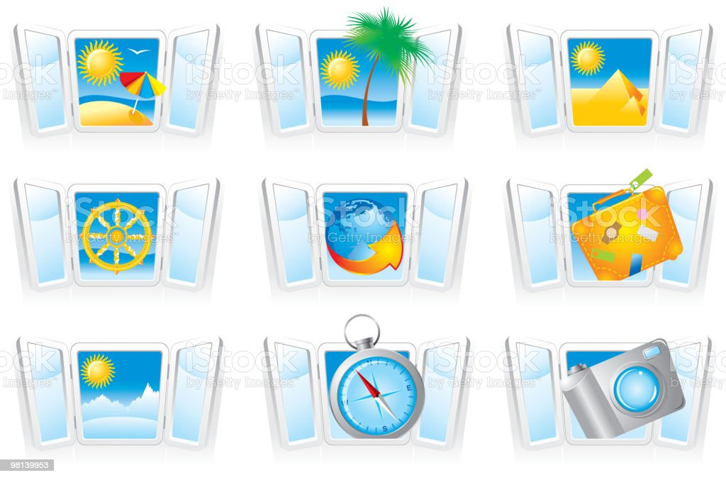 Set  travel icons royalty-free set travel icons stock vector art & more images of beach