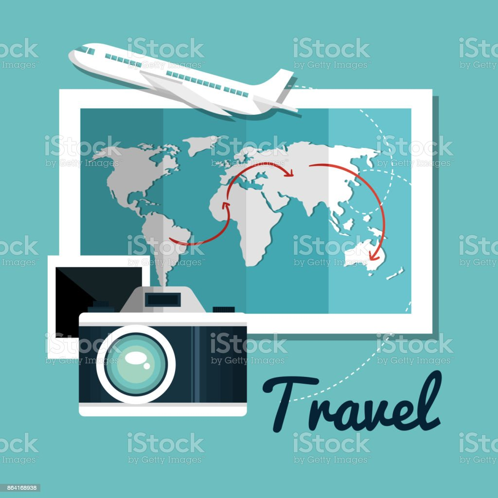 set travel map camera airplane design royalty-free set travel map camera airplane design stock vector art & more images of airplane