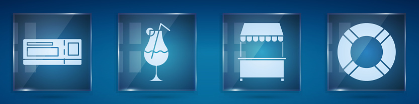 Set Travel ticket, Cocktail and alcohol drink, Street stall with awning and Lifebuoy. Square glass panels. Vector