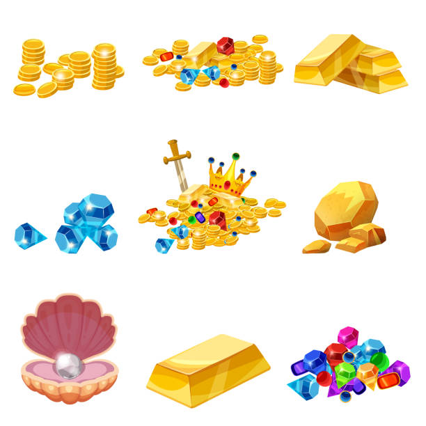 Set Treasure, gold, coins, rock gold nugget, bars, jewels, crown, shell pearl. Vector, isolated, cartoon style, for games, apps, white background Set Treasure, gold, coins, rock gold nugget bars jewels crown antiquities stock illustrations