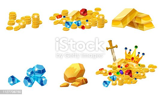 Set Treasure, gold, coins, rock gold nugget bars jewels crown