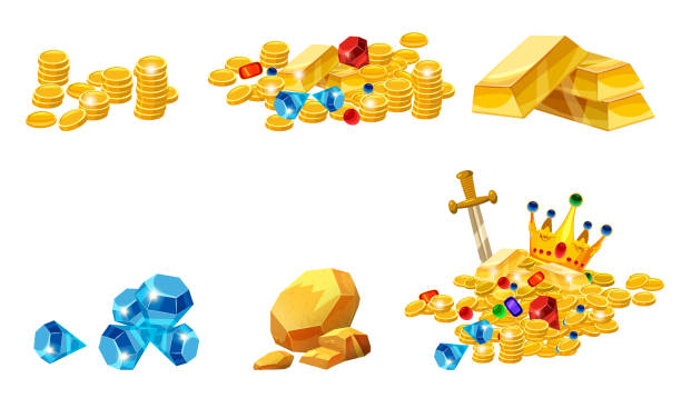 Set Treasure, gold, coins, rock gold nugget, bars, jewels, crown, vector, isolated, cartoon style, for games, apps, white background Set Treasure, gold, coins, rock gold nugget bars jewels crown antiquities stock illustrations