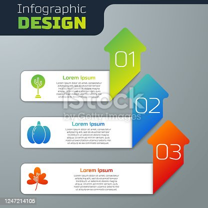 istock Set Tree, Pumpkin and Leaf or leaves. Business infographic template. Vector 1247214105