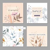 Set trendy abstract square art templates with floral elements. Suitable for social media posts, mobile apps, banners design and web/internet ads.Gentle pastel colors. Seamless natural pattern