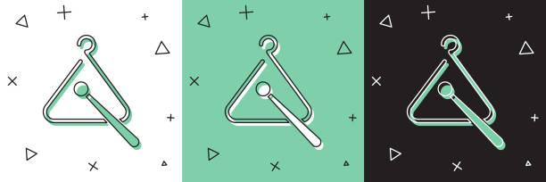 bildbanksillustrationer, clip art samt tecknat material och ikoner med set triangle musikinstrument ikonen isolerade på vitt och grönt, svart bakgrund. illustration av vektor - triangel slagverksinstrument