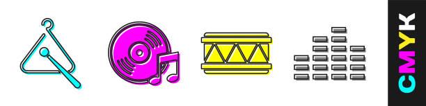 bildbanksillustrationer, clip art samt tecknat material och ikoner med set triangle musikinstrument, vinyl disk, drum och music equalizer ikon. vektor - triangel slagverksinstrument