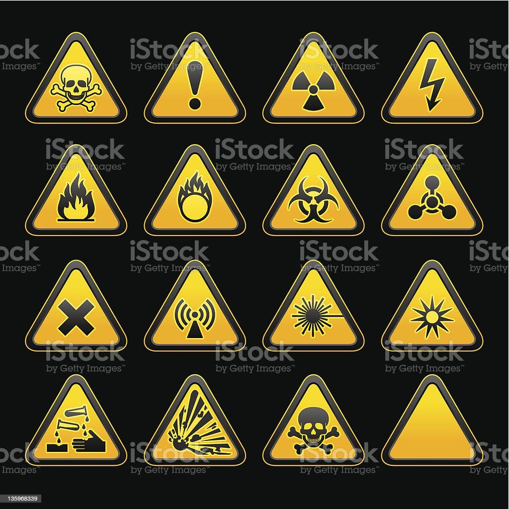 19 Mit Dreieckigen Warnzeichen Gefahr Symbole Stock Vektor Art und ...