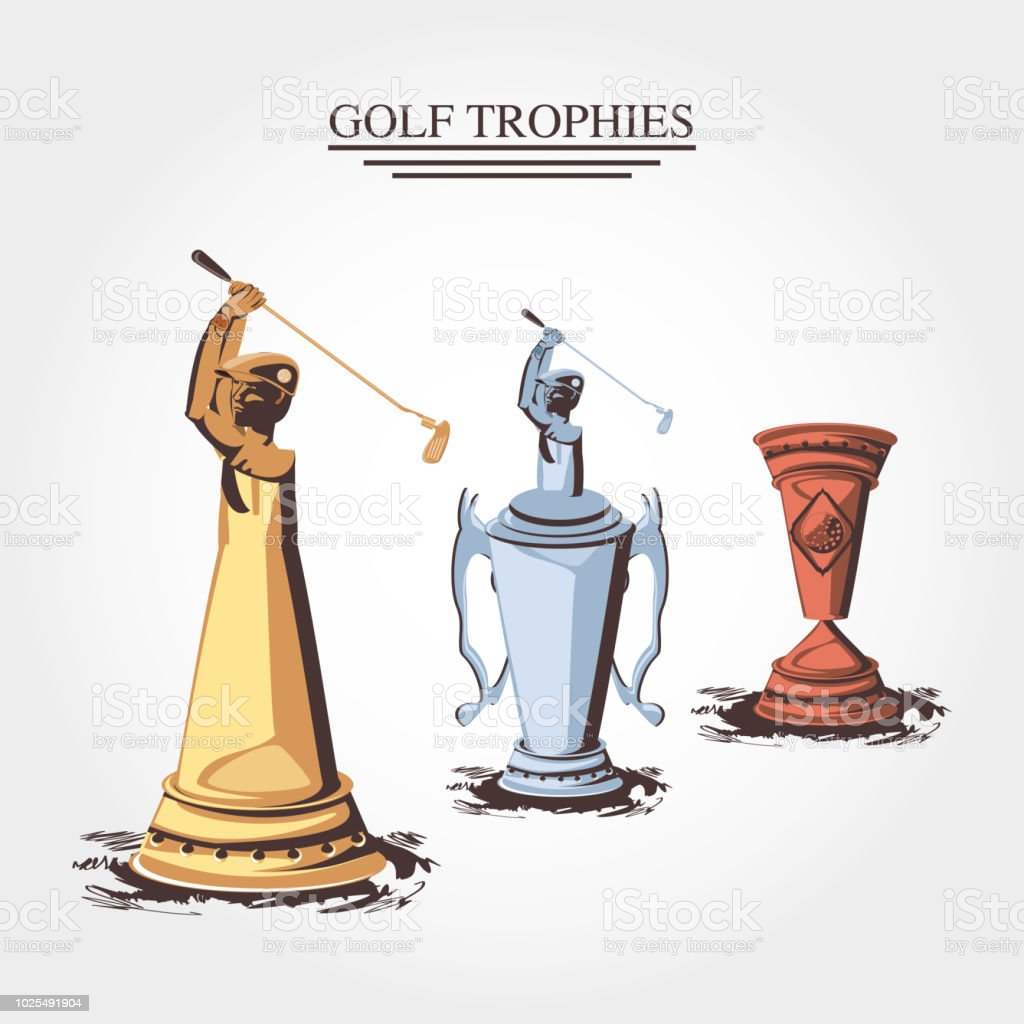 Set Trophies Golf Tournament Stock Illustration Download Image Now Istock