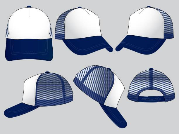 stockillustraties, clipart, cartoons en iconen met set trucker baseballcap (5 panel cap.) - maaswerk