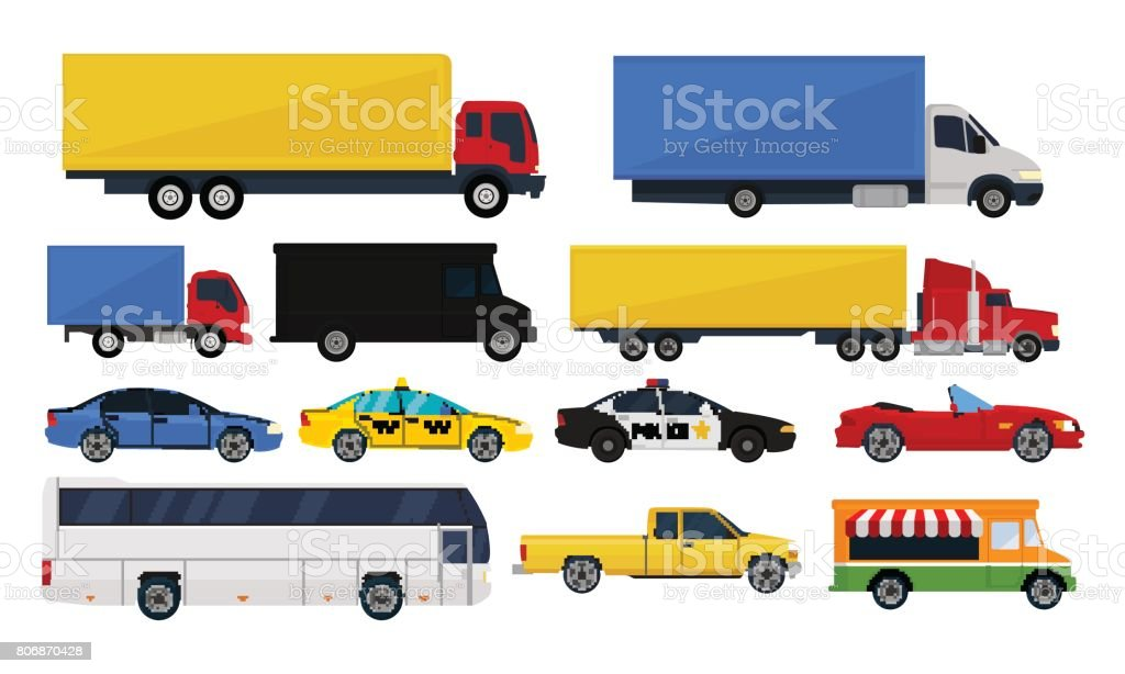 Set trucks and cars isolated white background. vector art illustration