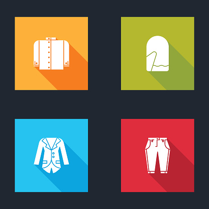 Set T-shirt, Christmas mitten, Blazer or jacket and Pants icon. Vector