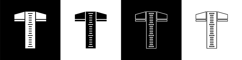 Set T-square line for professional drafting icon isolated on black and white background. Vector Illustration