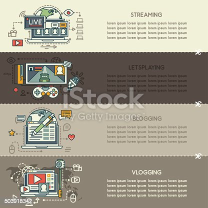 Set of four internet technology banners: streaming, letsplaying, blogging, vlogging