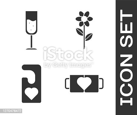 istock Set Two coffee cup and heart, Glass of champagne, Please do not disturb with heart and Flower icon. Vector 1270476472