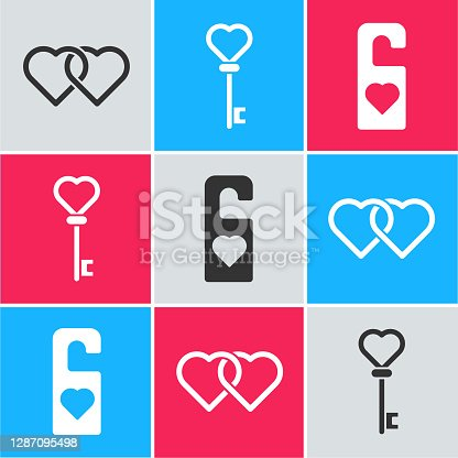 istock Set Two Linked Hearts, Key in heart shape and Please do not disturb with heart icon. Vector 1287095498