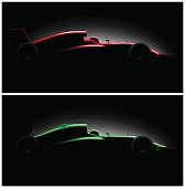 set two Realistic styled racing car side view in dark