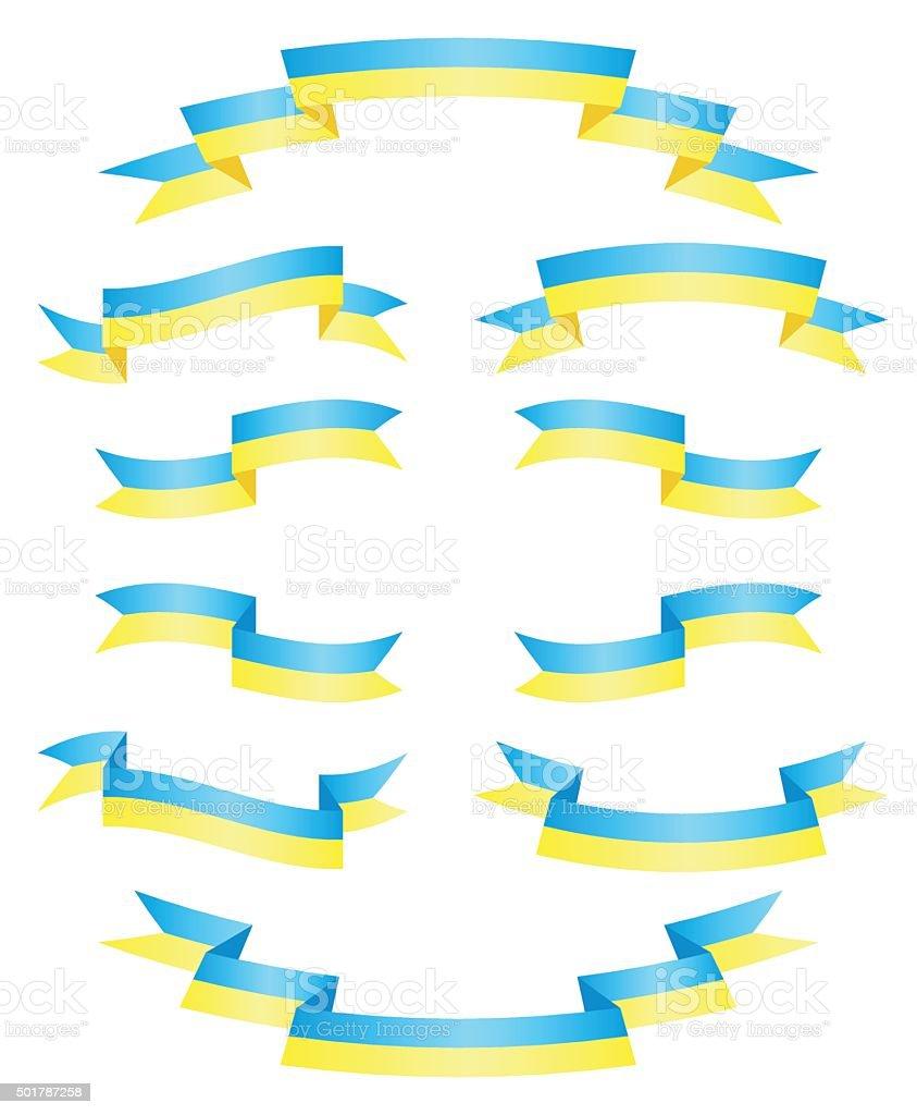 Set Ukrainian ribbons vector vector art illustration
