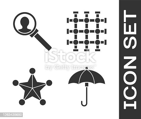 Set Umbrella, Magnifying glass for search, Hexagram sheriff and Prison window icon. Vector