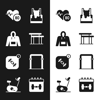 Set Uneven bars, Hoodie, Heart rate, Sweaty sleeveless t-shirt, Fitness app, Sport horizontal, Calendar fitness and Stationary bicycle icon. Vector
